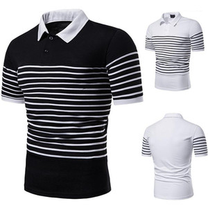 Color Polos Lapel Neck Casual Short Sleeves Polos Mens Clothes Striped Print Designer Polo Shirts Mens Fashion Patchwork Pure