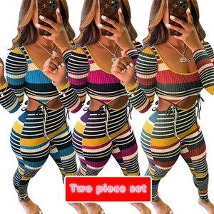 디자이너 섹시한 컬러 스트라이프 스레드 긴 소매 T 셔츠 바지 의상 스트리트 패션 스포츠 의류 새로운 T66