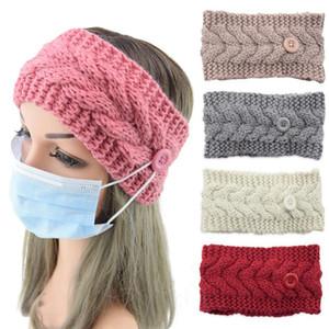 Masque Bandeau avec bouton hiver chaud tricot Hairband Oreille de protection Femmes Gym Sport Yoga Accessoires cheveux DDA563