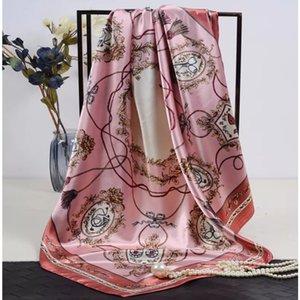 موضة طرحة شال المرأة الأزهار طباعة الحرير وشاح الحرير أنثى 90X90CM جميلة ساحة المنديل الشاطئ شال للحجاب السيدات