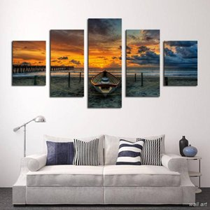 Hd Print Painting On Canvas Poster 5 Panel Sunset Seaview Boat Sailing Ship Wall Art Picture Abstract Home Decor Frame Dropship