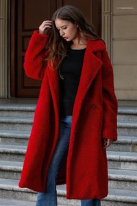 Thick Lapel Neck Womens Cardigan Outerwears Casual Females Clothing Solid Color Womens Designer Wools Fashion Loose