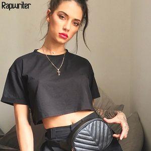 Rapwriter casual Loose 6 Colors Solid Crop Tops Summer T-Shirt Women Heat O-Neck Short Sleeve Stretch Crop Tops feminina 200915
