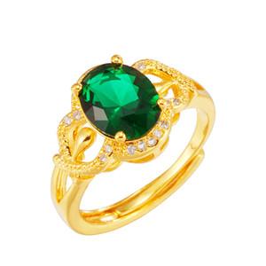 VAMOOSY fina elegante de la boda temperamento anillo de los anillos de oro de 24 quilates con encanto joyería para las mujeres Rojo Verde Azul Piedra Mujeres Accesorio