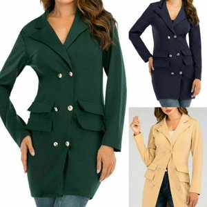 Womens Long Sleeve Button Lapel Slim Casual Office Ladies Work Fashion Slim Jacket Outwear Suit Coat Tops