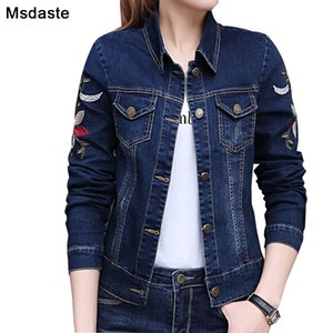 Jeans Jackets Women 2019 Autumn Flower Embroidery Vintage Female Long Sleeve Casual Coats and Top Woman Blue Short Denim Jackets