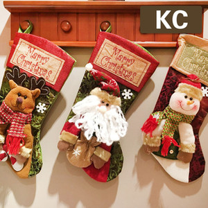 A hot seller for Christmas decorations Pendant The lovely Snowman Santa Claus Beautiful elk Christmas sock gift bag Free package mail