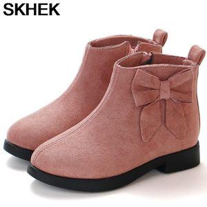 أحذية الكاحل SKHEK أطفال للبنات الأميرة جلد BOWKNOT أحذية الدافئة أزياء لينة أسفل أطفال أحذية الثلج أحذية رياضية 2020