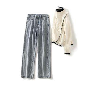 Cthink Fashion Jeans Casual Mode féminine Jeans droites Bonne qualité Femme élégante Baggy Petit ami Pantalons Jeans