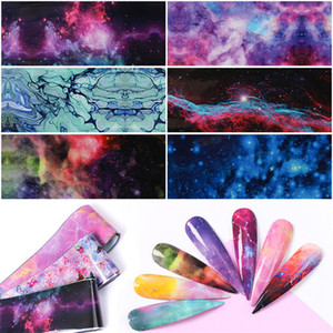 10 PCS Nail Foil Sticker Set Holographic Starry Sky Adhesive Wraps Marble Stone Transfer Foils Decal Paper for Manicure Nail Art