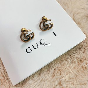 ITALY Hot jewelry EARRINGS retro Copper Alphabet design earrings top quality elagant women stud earrings fashion style with box
