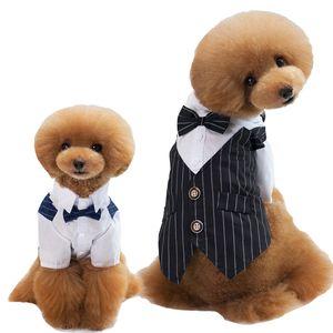 Vestiti del cane del vestito da sposa convenzionale della camicia Gentleman per i piccoli cani Bowtie Tuxedo Pet Outfit Natale di Halloween Costume per i gatti