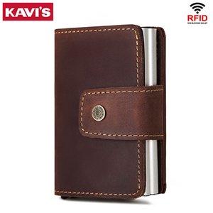 SARINE Rfid Men Leather Credit Card Holders Automatic Business ID Card Walet Case Fashion Blocking Aluminium Bank Mini Wallets