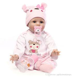 대형 55cm 소프트 바디 실리콘 베브 아기 아기 인형 장난감 소녀를위한 신생아 아기 생일 선물 취침 시간 조기 교육 크리스마스 키즈 선물