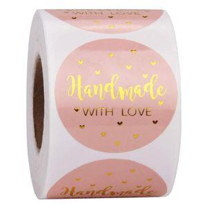 500pcs a mano con amore Kraft autoadesivi di carta 25 millimetri rosa rotonda etichette adesive cottura festa di nozze della decorazione