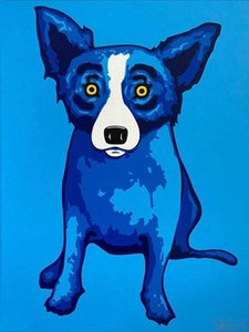 "George Rodrigue ""Blue Skies Glänzendes on me"" Blue Dog Hauptdekoration Ölgemälde auf Leinwand-Wand-Kunst Leinwandbilder 200907"