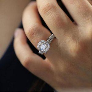 Cuore Set di nozze brial anelli sottili gioielli impegno femminile di modo di fascino chiodo anelli anello di fidanzamento per le donne diamante della nave di goccia anello