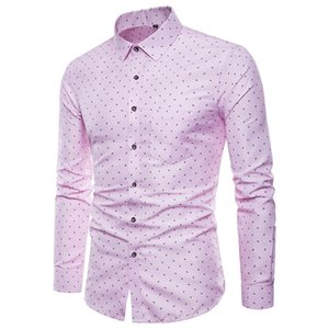 Spring autumn new high-quality long-sleeved lapel men's shirt fashion British style floral large size slim casual male blouse