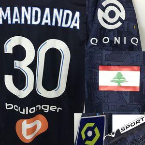 2020 Longe maillot OM Mandanda com bandeira Liban Benedetto Thauvin ALVARO Rongier With Full Futebol remendo emblema