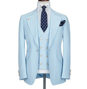 Light Blue Wedding Tuxedos 3 Pieces One Button Mens Suits Notched Lapel Groom Wear Party Prom Best Men Blazer Suit(Jacket+Pants+Vest)