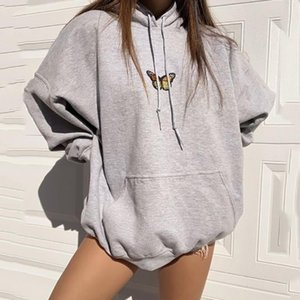 New Design Fashion Girls Sweatshirt Women 2020 Autumn Loose Pullovers Tops Gray Oversized Hoodies Butterfly Front Pocket Simple 0915
