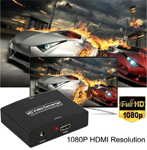 50set lot VGA+R L VGA to HDMI Converter With Audio VGA2HDMI 1080P HD AV Adapter Connector For Projector PC Laptop HDTV