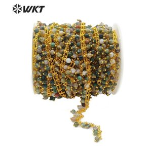 Altın Zinciri 4mm küçük yuvarlak inci uzun Boncuk Zincir kadın moda Takı Yapımı ile WT-RBC109 toptan doğal taş