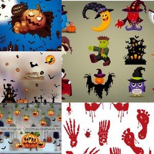 Arte del gato extraíble Cartel Festival de PVC uTFjy de Halloween Placa Castillo del papel pintado pegatinas de pared tienda de ventana Decoración de cristal Decoración de pared Calcomanías