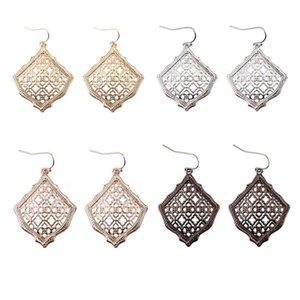 New Kendra Square Kite Filigree Cutout Morocco Dangle Drop Earrings for Women Metallic Filigree Kendra Style Drop Earrings