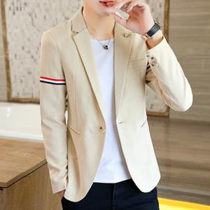 Autumn 2020 Men's Handsome Slim-Fit Ribbon Decoration Single Button Suit Teenagers Solid Color Casual blazer
