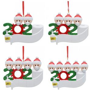 Frohe Weihnachten Familie Ornaments Resin-Anhänger Schneemann mit Maske 2020 Dekorationen Mehrere Design Leere Großhandel 10 5hm H1