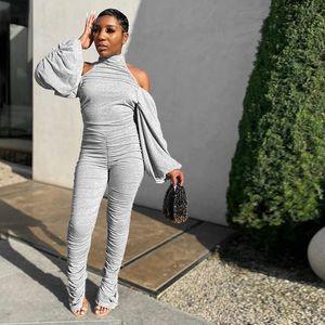 HALTER DANCHEAU RUCHED Jumpsuits empilés Femme À Manches longues Skinny Modycon Fashion Fashion 2020 Rompers Womens Combinaison