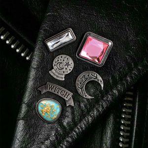 Punk Moon Witch Crystal ball White Pink Rhinestone Map Stone Pins Buckle Badge Denim jacket Shirt Collar Lapel Pin Jewelry Gift