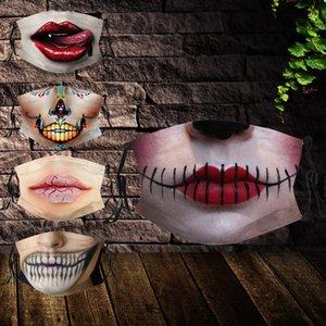 DHL Бесплатная доставка горячей продажи испуг Хэллоуина маски Мода цифровой печати пыле Anti-смога маска хлопка дышащий маска Washable