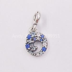 Authentische 925 Sterling Silber Perlen My Blue Ocean Wave baumeln Charm Charms Passt europäischen Pandora Style Schmuck Armbänder Halskette 799010C0
