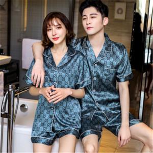 Cetim de seda do pijama Set Casais manga comprida Flor Masculino Impresso Pijamas Mulheres Pijama Pijama Pijama Pijama Mens Homewear M-3XL # 276