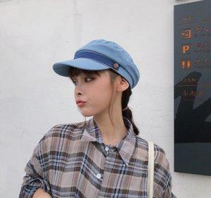 8QCxp Beret verão fina coreano estilo all-jogo marinha chapéu artística internet britânico vermelho boné de pala Pointed das mulheres octagonal cap boina octagon