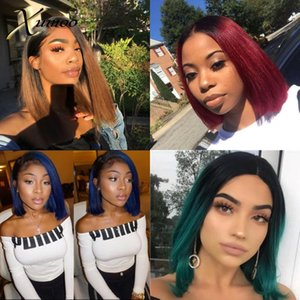 XUMOO Cheap Short Remy Human Hair Bob Lace Front Wigs Black Ombre Green Blue Brown Wine Red Straight Human Hair Wigs For Women