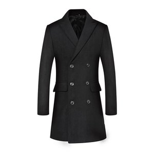 Мужские шерстяные сочетания 2021 длинные Blouson Hivers Homme Случайные бизнеслы Двухбордовые пальто Мужчины
