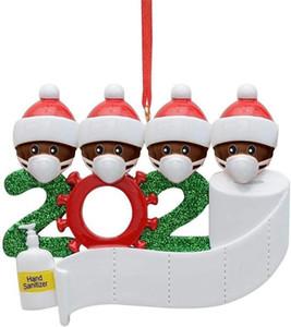 DHL 2020 Partido persona Negro de Santa Decoración de cuarentena Navidad de la familia de ornamento personalizado de pandemia de Mascarillas mano Sanitized