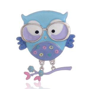Designer Brooch Popular Cute Animal Cartoon Pin Metal Brooch Alloy Blue Owl Bird Enamel Pins Kawaii Lapel Brooches Badges for Women