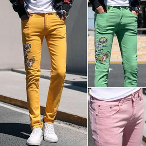 New Fashion Ripped Jeans Men Embroidery Skinny Pants Man Spring Summer Yellow green pink Demin Pants Plus Size