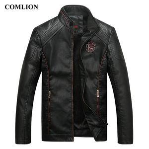 COMLION Faux Vestes en cuir pour homme classique de haute qualité de moto Bike Cowboy Veste Manteau Homme plus épais velours Manteaux M- LJ200916