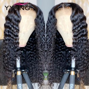 YYong 1x4 & 13x6 T Part Malaysian Lace Front Human Hair Wig Deep Wave HD Transparent Lace Wigs Remy Deep Part Wigs 120% 32 inch
