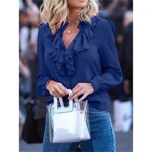 Shirt Designer Spring Solide Volide V Pull de mode Couleur d'été Couleur Casual Vêtements Cou Womens Chiffon Argsx