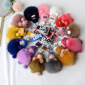2020 Baby Doll Toy Sleeping Baby Doll Key Chains For Women Bag Toy Key Ring Fluffy Faux Fur Plush Keychains