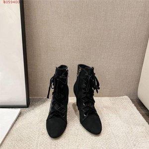Womens brodé bottes courtes, lacets mode fermeture à glissière talon haut mince sexy tête ronde de haut talon bottes courtes