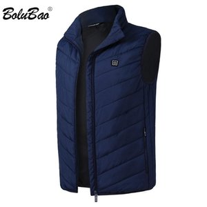 BOLUBAO Fashion Brand Men Heating Vest Coats Winter New Men Casual Cotton Vest Jacket Tops Smart USB Charging Coat Male