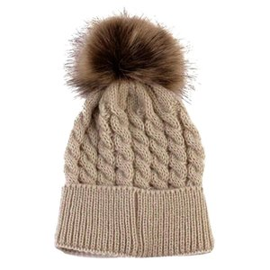 Newborn Hat Cute Winter Kids Baby Girls Boys Warm Hats Knitted Wool Hemming Hat Hairball Fur Ball Cap 0-36 Months Baby