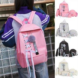 Adisputent Mulheres Moda Lightweight Pompom Lace Decoração Backpack quatro peças menina da escola Saco Vento Colégio Bundle Backpack